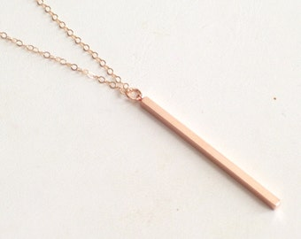 Rose Gold Filled Necklace, Slim Rose Gold Stick Pendant Necklace, Minimalist Necklace, Delicate Necklace, Everyday Jewelry, Bridesmaid Gift