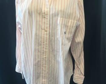 Retro 1990 white Pink pinstriped cotton blouse shirt size 16