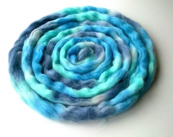 Masham combed wool top for handspinning 100g Blue Stormy Skies