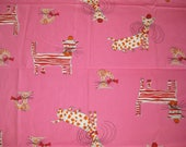 Vintage 60s Hot Pink Cotton Ameritex Mid Century Mod CAT Novelty Print Fabric Remnant 1.4 Yards