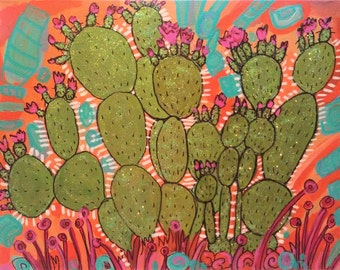 "Glitter Prickly Pear, an original 11"" x 14"" painting on canvas, featuring a prickly pear cactus in green glitter"