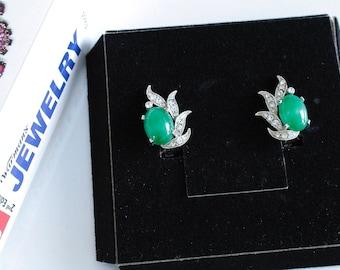 Rare Eisenberg  Green  Jade  Earrings #1056