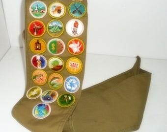 Boy Scout Memorabilia, Boy Scout Sash with Merit Badges, Scouting Merit Badges