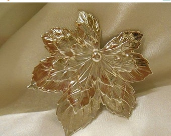 Holiday Sale Sarah Coventry Silvery Maple Brooch Signed SAC