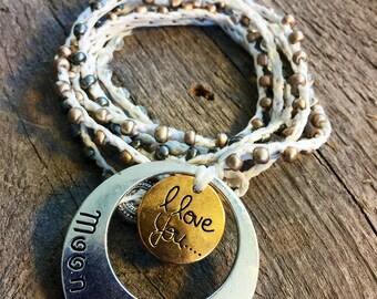 My Sun and Moon:Versatile crocheted necklace / bracelet / belt / headband
