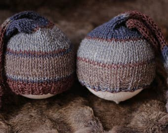 ready to ship, newborn photography prop, blue brown gray knit twin hats striped with knot, newborn boy prop, newborn sleep cap, twin hats