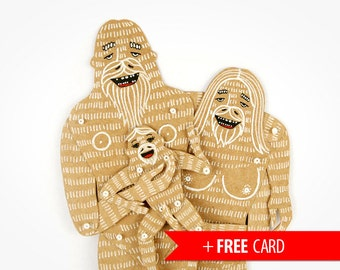 Yeti Family (3) articulated paper dolls handmade greeting card Bigfoot puppets birthday present family portrait whimsical Sasquatch monster