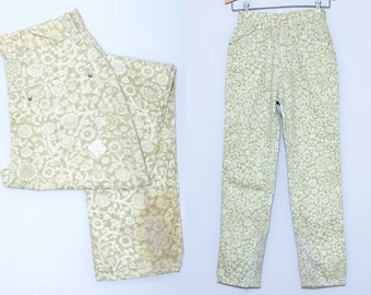 1950s Deadstock Floral High Waisted Brushed Cotton Denim Womens Pin up Jeans