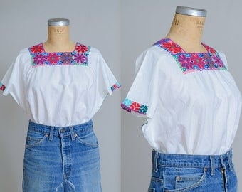 70s Mexican Embroidered Raw Cotton Bohemian Babydoll Blouse