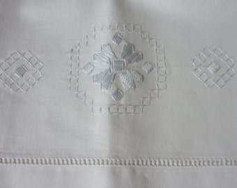 2 Vintage Cotton Pillowcases.. Hand embroidery..Perfect  Condition..Ladderwork Edges