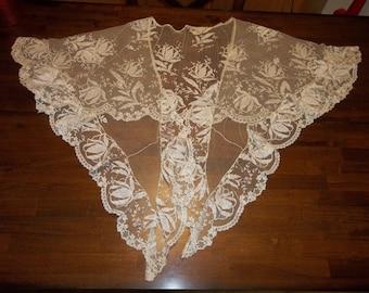 """Antique"""" Point De Gaze Brussels Lace"""" Shawl...134"""" Long, 18"""" Deep...Wedding...Excellent Condition"""