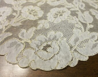 """Antique FRENCH BRUSSELS Lace Wedding Shawl on Net Perfect Condition..16"""" by 67"""".."""