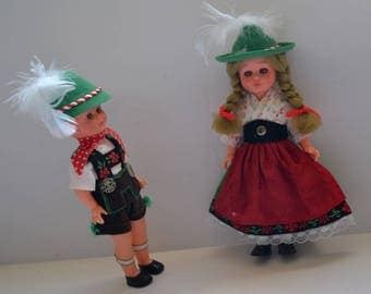 "Vintage German dolls boy and girl 6"" dolls Original Clothes feather hat doll Collectible Bavarian Children, Traditional Costume Dolls"
