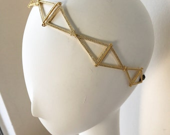 Gold Crystal Triangle Headpiece, for Bridal, weddings, parties, cocktail, evening, special occasions