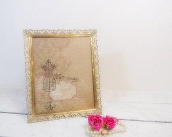 Vintage Ornate 8x10 Shabby Filigree Metal Picture Frame/Wedding Decor/Wedding Frame/Vintage Wedding.