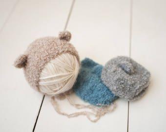 Boucle Bear Newborn Knit Bonnet Photography Prop