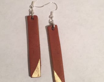 Hand Painted Rectangle Earrings