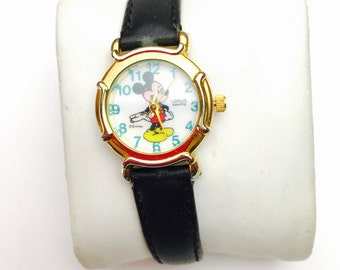 Lorus Mickey Mouse Watch, vintage ladies, Collectors, Leather Band, Clearance Sale, Item No. B126