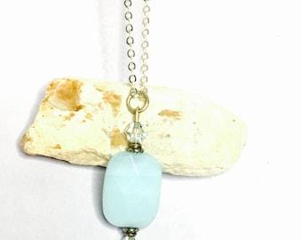 Faceted Crystal Pendant/Necklace, silver, aqua Swarovski, Clearance S A L E, Item No. S042