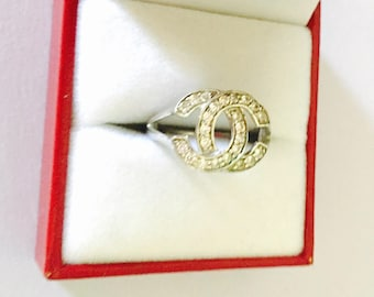 Vintage Sterling silver CHANEL ring Size 6., Clear crystals, Clearance Sale, item No. S500