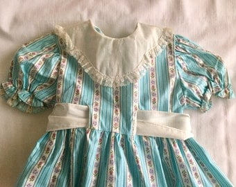 RESERVED FOR BRENDA Vintage 1950s 60s Toddler Girls' Teal Turquoise Stripe Dress 2T 2