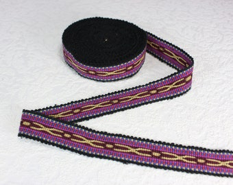 Woven Trim (6 yards), Woven Border, Cotton Ribbon, Grosgrain Ribbon, Dress Border, Border Trim, Ikat Fabric, R321