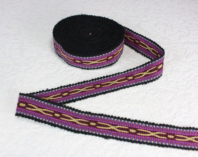 Woven Trim (6 yards), Woven Border, Cotton Ribbon, Grosgrain Ribbon, Dress Border, Border Trim, Ikat Fabric, R321
