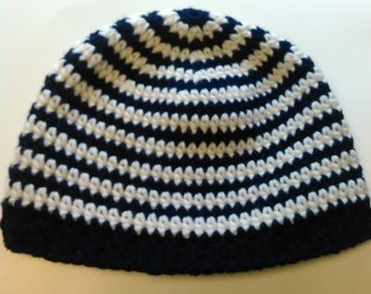 Blue and White Striped Teen/Adult Hat - Ready to Ship