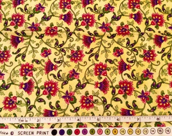Tuscany Yellow Floral Cotton Fat Quarter by Hoffman