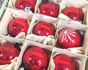 Christmas Ornaments Red Mercury Glass bulbs, balls