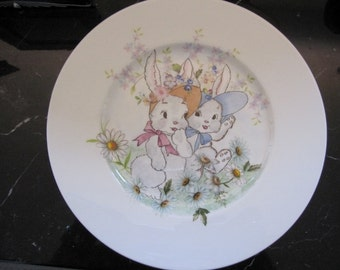 Hand painted rabbits and flowers plate
