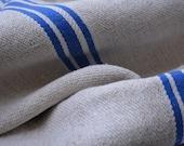 Vintage Homespun Textile, European Grain Sacks, Farmhouse Style Homespun Fabric with 3 blue Stripes, Vintage Supplies