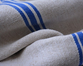 Vintage Homespun Textile, European Grain Sacks, Farmhouse Style Homespun Fabric with 3 blue Stripes, Vintage Supplies