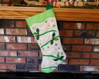 Handmade Christmas Stocking, Handsewn Felt Christmas Dove Stocking, OOAK, Lined Holiday Decoration, Personalized Stocking