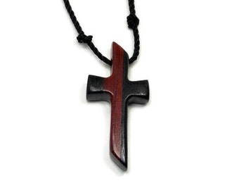 Bloodwood & Ebony Carved Cross, Bloodwood Men's Necklace, Christian Gifts Under 20