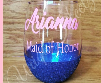 Glitter Bridesmaid Stem Less Wine Glasses  - Great for weddings favors - Bridesmaid gifts - Bachelorette Party - Vinyl NOT Paint