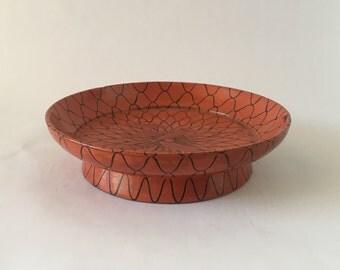Vintage Orange Lacquer Bowl, Fish in Net Design