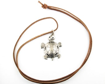 Leather necklace with metal turtle pendant charm