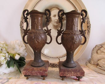 Antique / vintage French large pair of old mantle candle holders.  Paris apartment,  cottage chic