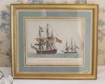 French, beautiful framed print, engraving. Sailing ships.