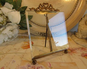 Antique French superb large glass photo frame with ormolu metal bow and bevelled edge. Paris apartment, cottage chic