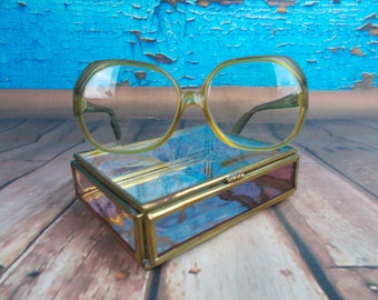 Vintage 80's Christian Dior Prescription Eyeglasses, Plastic Frames Made In Germany, Large Rounded Shape Tan/Yellow Ombre Green