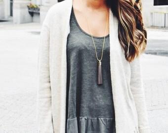 Brown Necklace Long Tassel Necklace - Minimalist Brown Tassel Necklaces