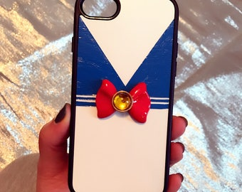 Custom Sailor Moon Inspired iPhone phone case Hand Sculpted and Painted Sailor Outfit