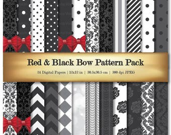 Red & Black Bow Digital Scrapbook Paper Variety 24 Pack Damask Dot Chevron Stripe Floral Bow Pattern - Commercial Use OK