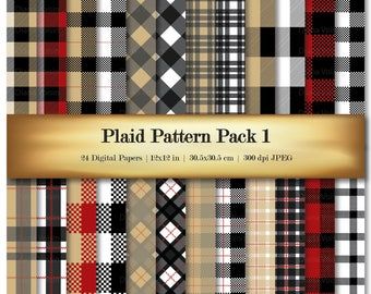 Plaid Digital Scrapbook Paper Red Black Tan Background Variety Pack Striped Patterns - Commercial Use OK