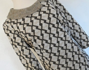 SALE :))) PHILIP KUNICK . Sparkling Mod . Xl . Adorable Geometric Jacquard-Like Knit Print Midi Dress Cutest Collar 60s 1960s