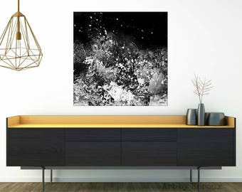 Large black and white canvas art, large black abstract art, Orignal Art Painting, grey Abstract, Modern Art on Canvas, MADE TO ORDER sizes