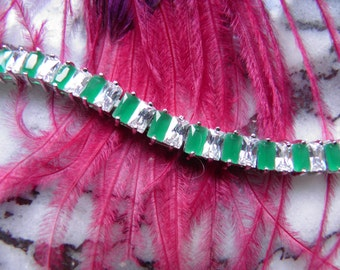 Man Made Simulated Diamond and Emerald Bracelet, Old Hollywood.