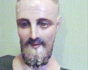 Antique Saint Bust, Religious Statue of Saint Joseph